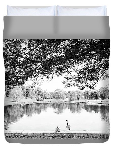 Duvet Cover featuring the photograph Two At The Pond by Karol Livote