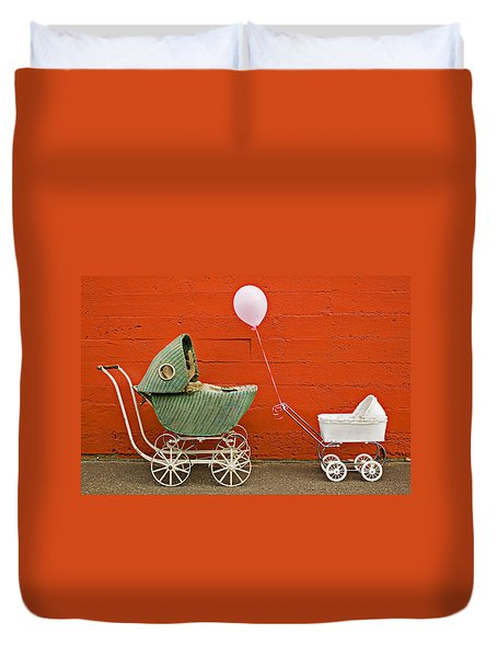 Two Baby Buggies  Duvet Cover by Garry Gay