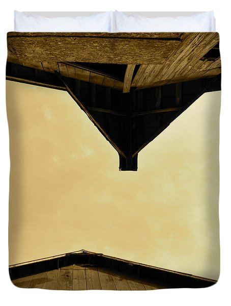Two Barns In Sepia Duvet Cover