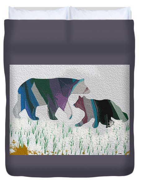 Two Bears Playing In The Snow Duvet Cover