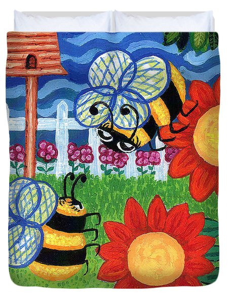 Two Bees With Red Flowers Duvet Cover