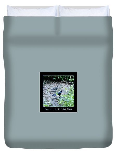 Duvet Cover featuring the photograph Two Birds Blue by Felipe Adan Lerma