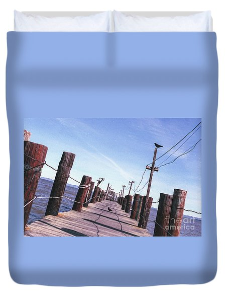 Two Birds On A Pier Duvet Cover
