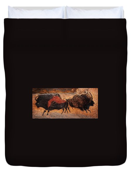 Two Bisons Running Duvet Cover