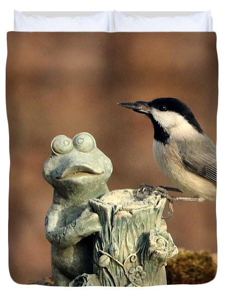Two Black-capped Chickadees And Frog Duvet Cover