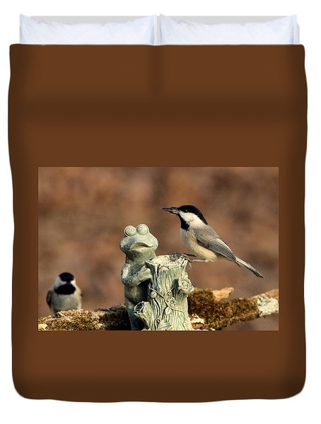 Two Black-capped Chickadees And Frog Duvet Cover by Sheila Brown