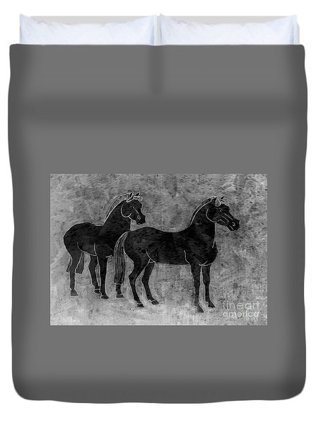Two Black Chinese Horses Duvet Cover by Nareeta Martin