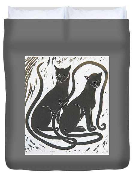 Two Black Felines Duvet Cover