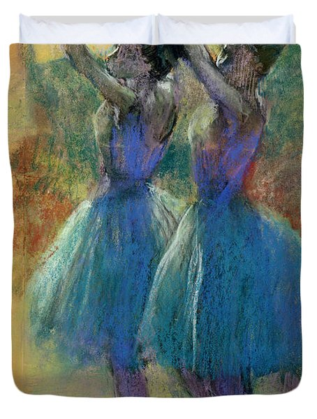 Two Blue Dancers Duvet Cover by Edgar Degas