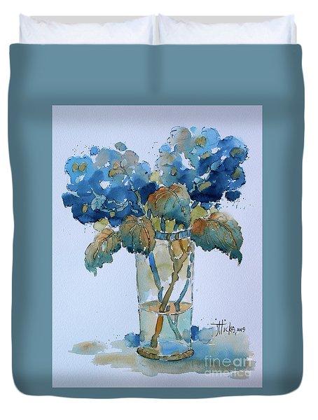 Two Blue Hydrangea Duvet Cover