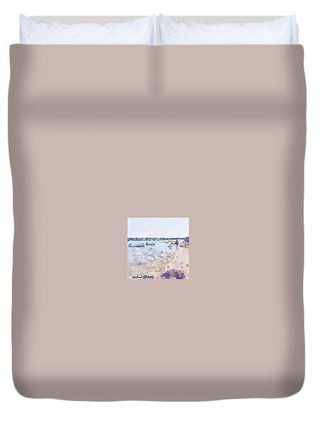 Two Boats At Ten Pound Island Beach Duvet Cover by Melissa Abbott