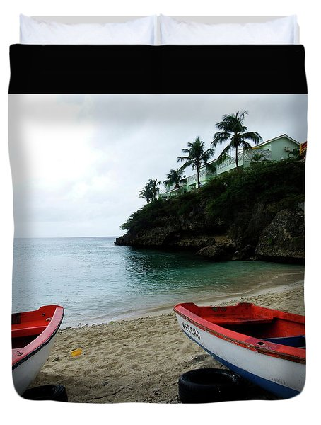 Duvet Cover featuring the photograph Two Boats, Island Of Curacao by Kurt Van Wagner