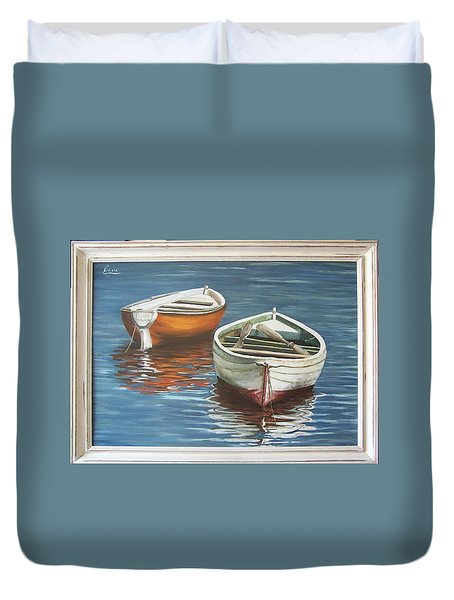 Duvet Cover featuring the painting Two Boats by Natalia Tejera