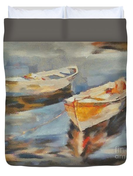 Duvet Cover featuring the painting Two Boats On A Mooring by Dragica  Micki Fortuna
