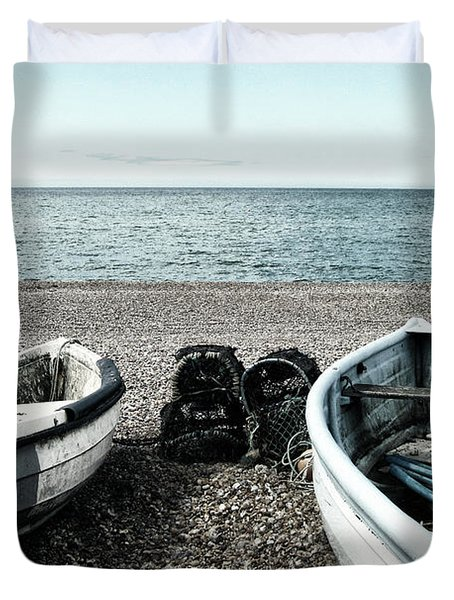 Two Boats On Seaford Beach Duvet Cover