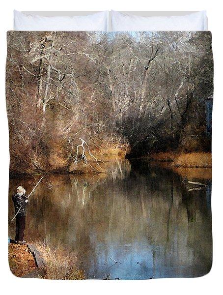 Two Boys Fishing Duvet Cover by Susan Savad