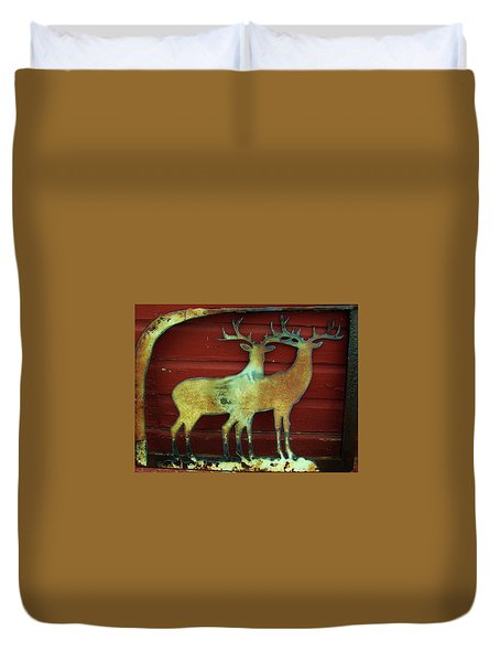Two Bucks 1 Duvet Cover by Larry Campbell