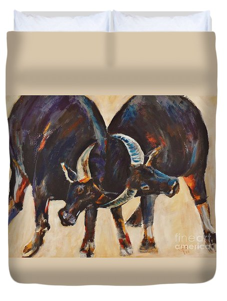 Two Bulls Fighting Duvet Cover