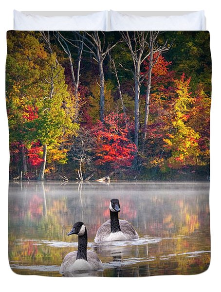 Two Canadian Geese Swimming In Autumn Duvet Cover