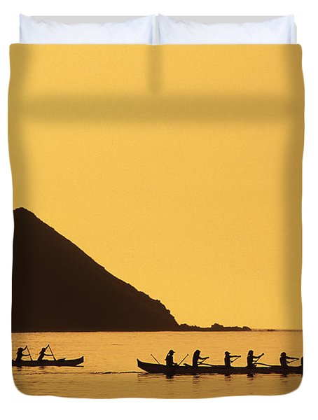 Two Canoes Silhouetted Duvet Cover by Dana Edmunds - Printscapes