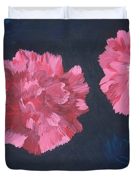 Duvet Cover featuring the painting Two Carnations by Joshua Redman