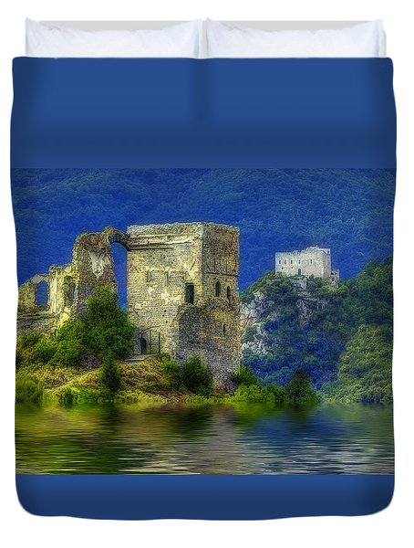 Duvet Cover featuring the photograph Two Castles On The Lake by Enrico Pelos