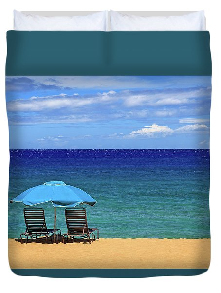 Two Chairs And An Umbrella Duvet Cover by James Eddy
