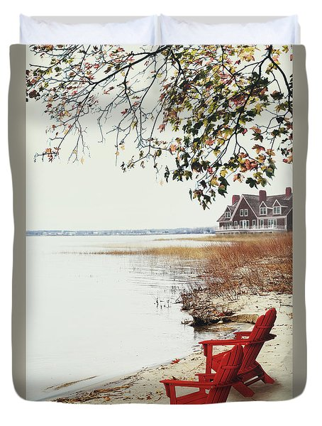Two Chairs By The Lake's Edge In Autumn Duvet Cover by Sandra Cunningham