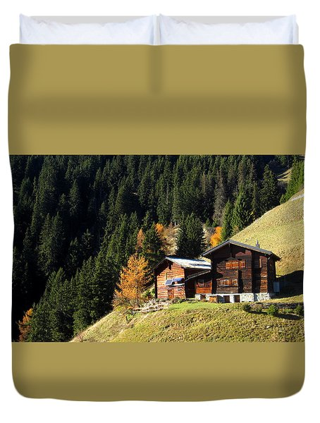 Two Chalets On A Mountainside Duvet Cover