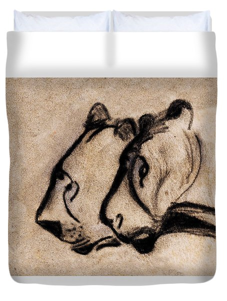 Two Chauvet Cave Lions - Clear Version Duvet Cover