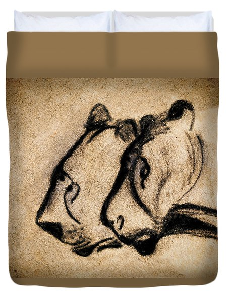 Two Chauvet Cave Lions Duvet Cover