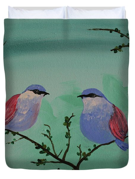 Two Chickadees Duvet Cover