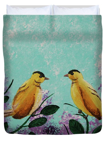 Two Chickadees Standing On Branches Duvet Cover