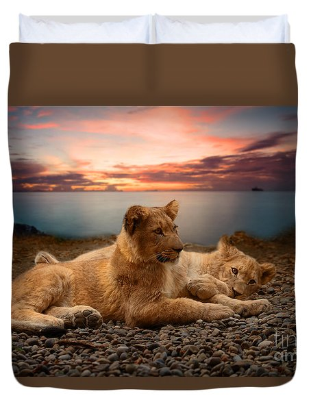 Duvet Cover featuring the photograph Two by Christine Sponchia