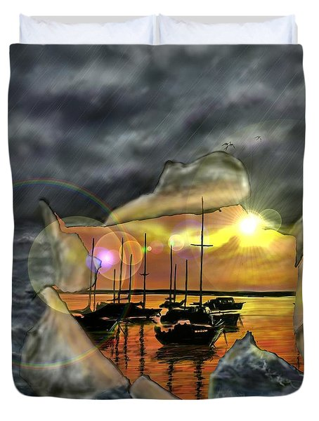 Duvet Cover featuring the digital art Two Climates by Darren Cannell