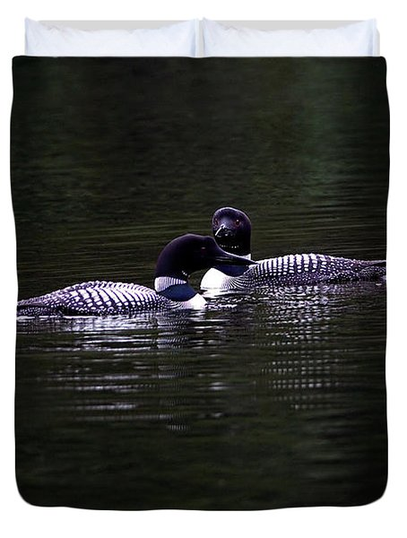 Two Common Loons At Sunset Duvet Cover
