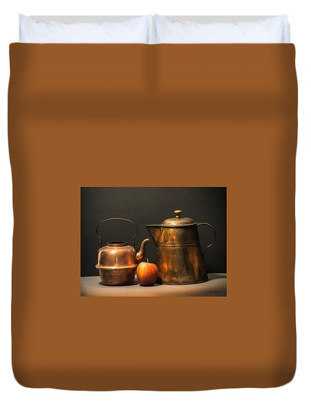 Duvet Cover featuring the photograph Two Copper Pots And An Apple by Frank Wilson