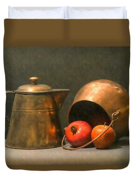 Duvet Cover featuring the photograph Two Copper Pots Pomegranate And An Apple by Frank Wilson
