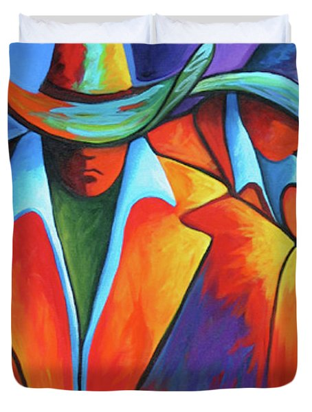 Two Cowboys Duvet Cover by Lance Headlee