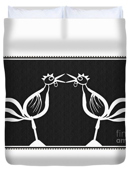 Two Crowing Roosters 2 Duvet Cover by Sarah Loft