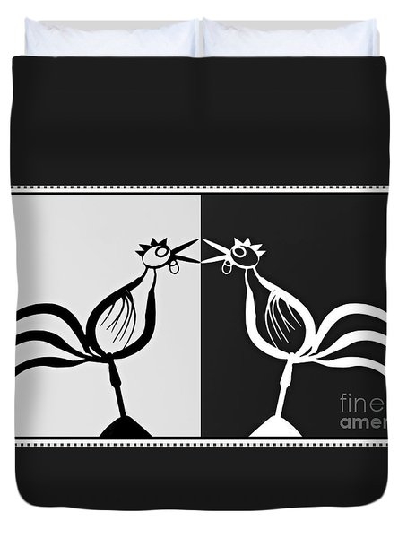Two Crowing Roosters 3 Duvet Cover