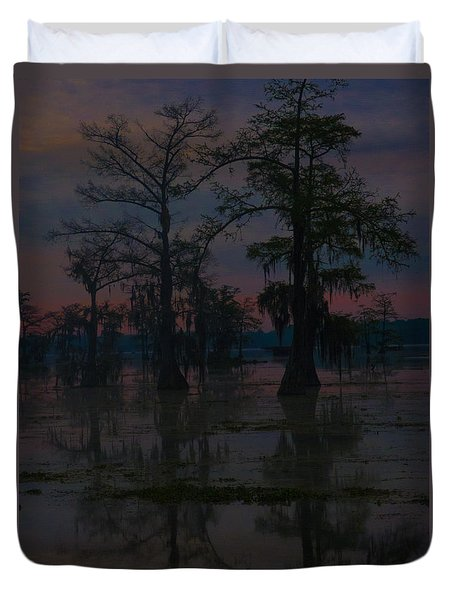 Two Cypress At Dawn Duvet Cover