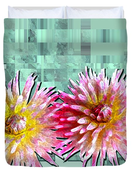 Two Dahlias Duvet Cover by Shirley Heyn
