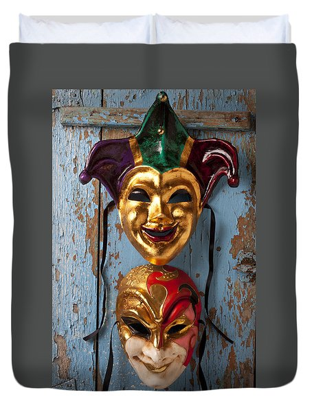 Two Decortive Masks Duvet Cover by Garry Gay