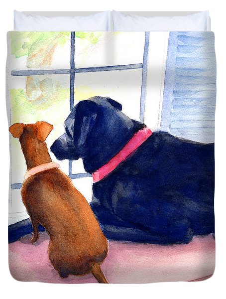 Two Dogs Looking Out A Window Duvet Cover