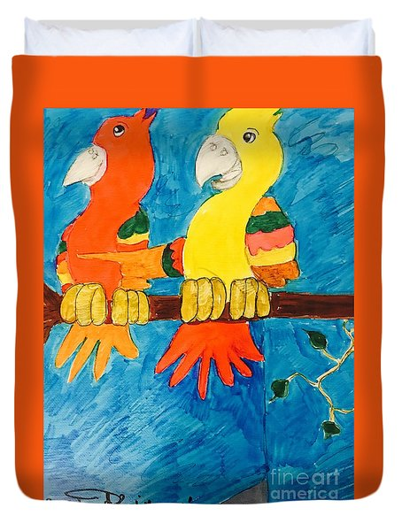 Two Double Yelloe Headed Birds Duvet Cover