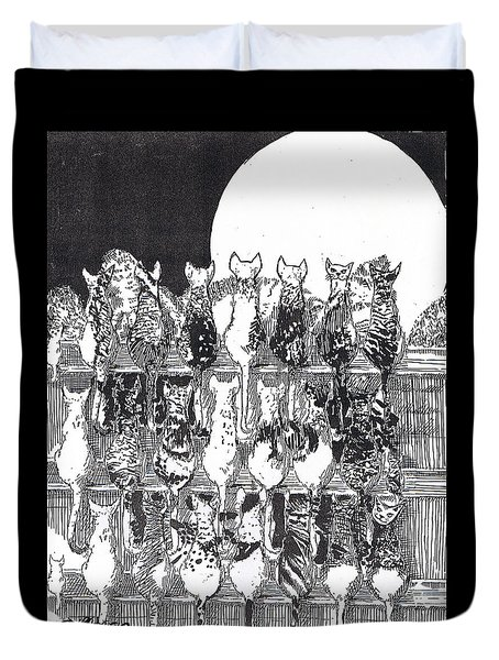 Duvet Cover featuring the drawing Two Dozen And One Cats by Seth Weaver
