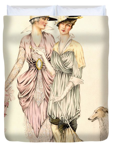 Two Dresses For The Goodwood Races Duvet Cover