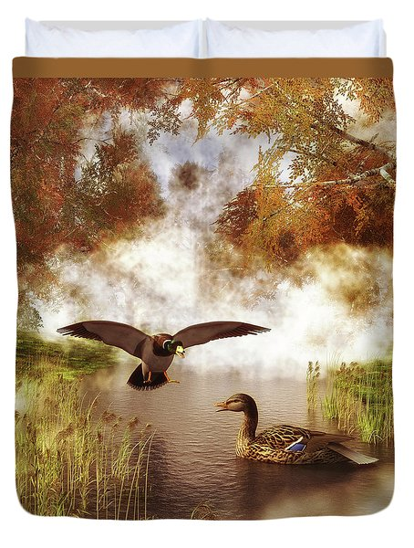 Two Ducks In A Pond Duvet Cover