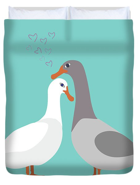 Two Ducks In Love Duvet Cover